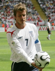 England's Beckham holds ball after own goal by Paraguay's Carlos Gamarra during Group B World Cup 2006 soccer match in Frankfurt