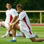 England's Beckham at their World Cup training camp near Baden-Baden